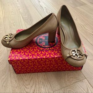 Tory Burch snakeskin pattern leather heels